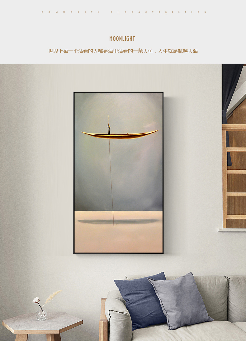 New Chinese Style Golden Boat Natural Landscape Creative Canvas Paintings Wall Art Pictures For Living Room Home Decor Nostalgic