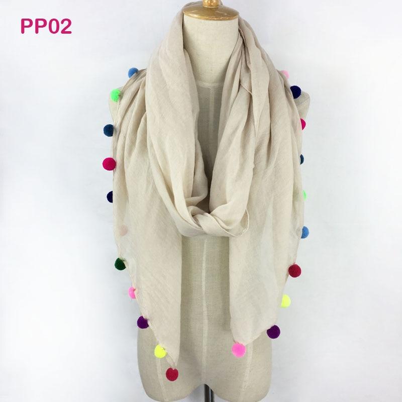 Gorgesonline Designer Handmade Plain Cotton Long Shawl Pashmina Wraps, Spring Colorful Pom Pom Women Scarf, Solid Color Hijab
