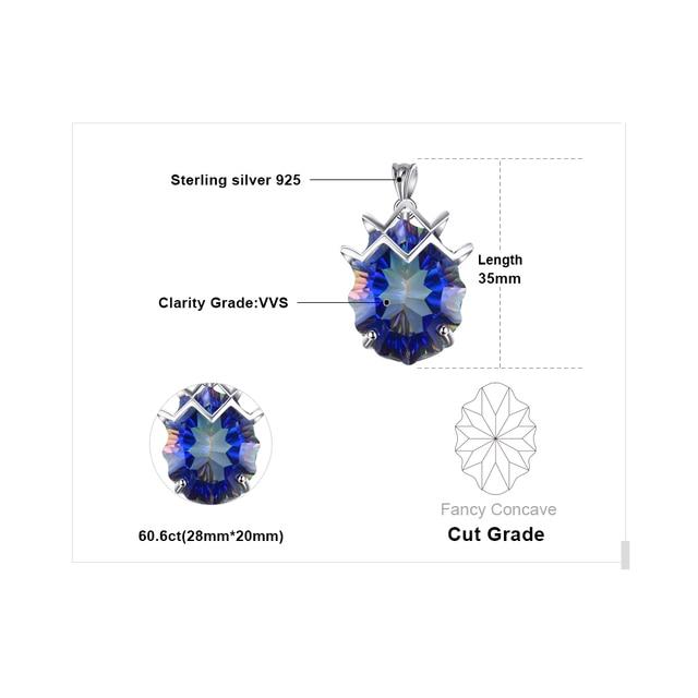 21ct Genuine Rainbow Fire Mystic Topaz Gem Stone Necklace 4