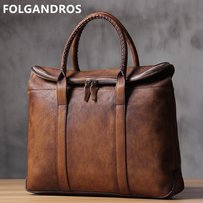 Briefcases Laptop-Bag Business Genuine-Leather Handmade Vintage Men's Luxury Brand Classic