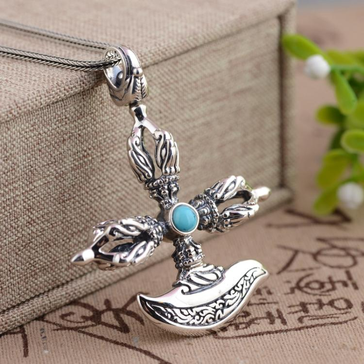 Xiangyuan wholesale sterling silver S925 Silver Pendant antique crafts Buddhist ritual Vajra evil Pendant 925 sterling silver jewelry necklace pendant retro evil vajra pestle jiangmo avoid evil spirits musical instruments