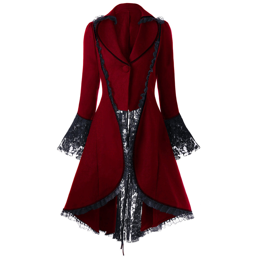 VESTLINDA Outerwear Coats Women Lace Panel Lace-Up High Low Coat Winter Coat Women New Fashion Casual Long Tops Black Red 2017 5