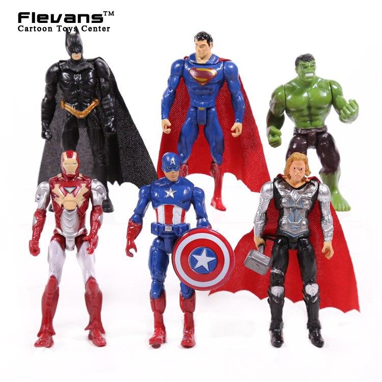 Superheroes 6pcs/set Iron Man Thor Captain America Batman Superman Hulk PVC Action Figures Toys 4