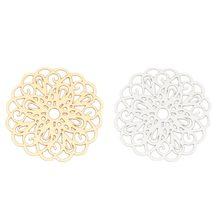 Doreenperles 10 pièces mode alliage à base de fer filigrane estampage connecteurs fleur couleur argent or bijoux breloques à assembler soi-même 26x25mm