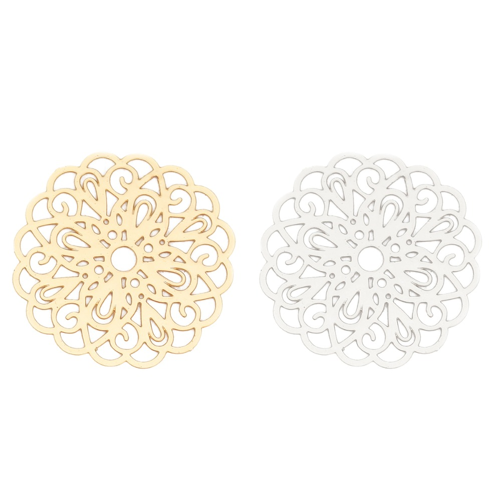 DoreenBeads Fashion Iron Based Alloy Filigree Stamping Connectors Flower Silver Tone Gold Jewelry DIY Charms 26mm X 25mm, 10 PCs