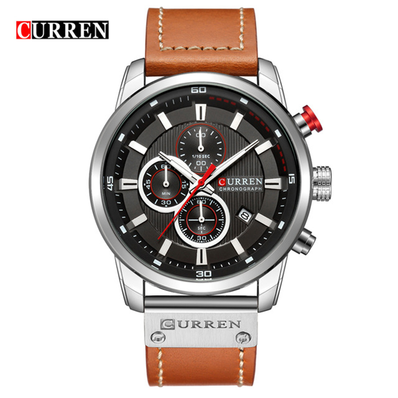 New Mens Watches Fashion Casual Waterproof Chronograph Quartz Watch Men Date Leather Sport Military Male Clock CURREN 8291 minifocus fashion military waterproof shockproof men wristwatch black blue leather quartz watches male casual sport date clock