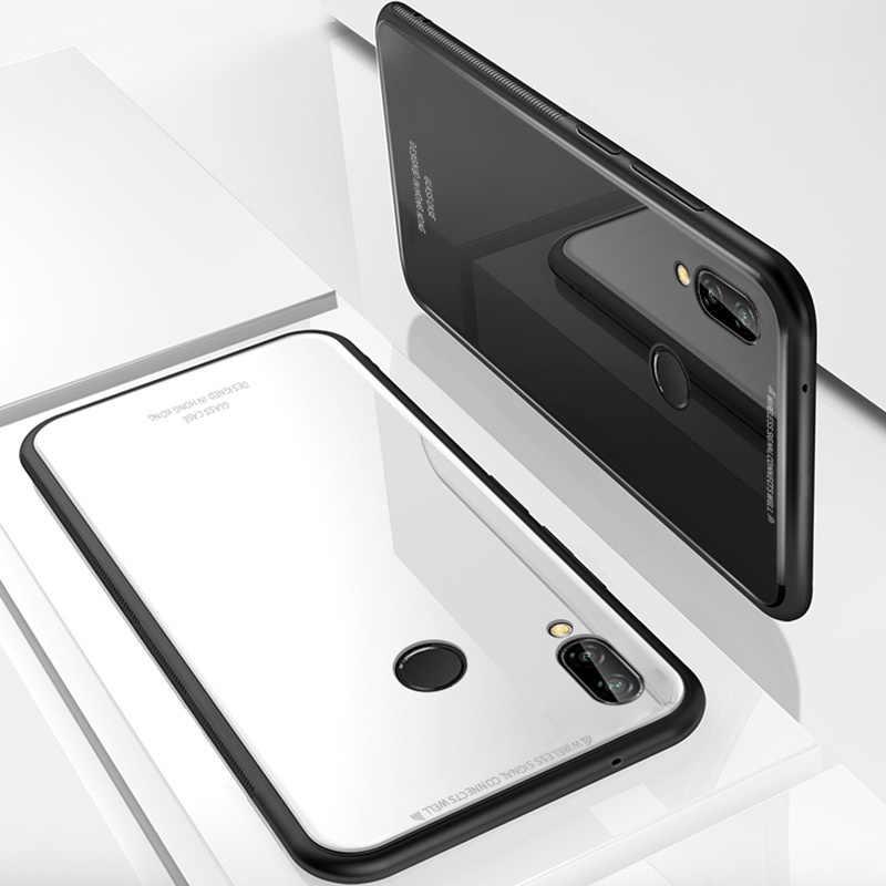 KEYSION Huawei Y9 2019 Kılıf Lüks Parlak Temperli Cam Için Yumuşak Silikon Çerçeve Darbeye Sert Kapak Için Huawei Y9 2019 durumlarda