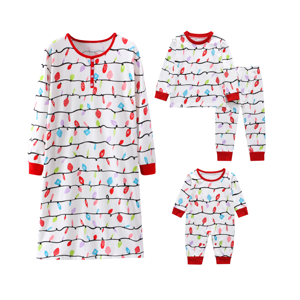 Household Pajamas Set Mom Daughter Clothes Gown+Children Garments Women Boys+New child Rompers