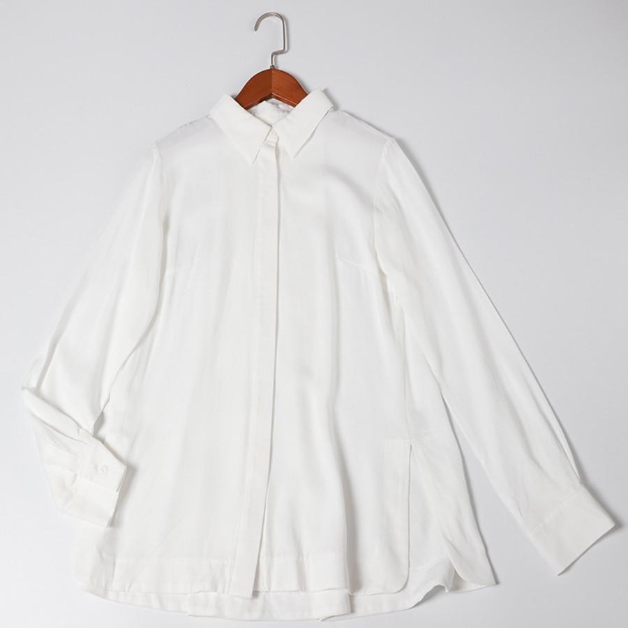 VERDEJULIAY haute qualité bureau couverture en coton 2019 été piste blanc Blouse lettre impression ceinture col rabattu chemises de travail - 5