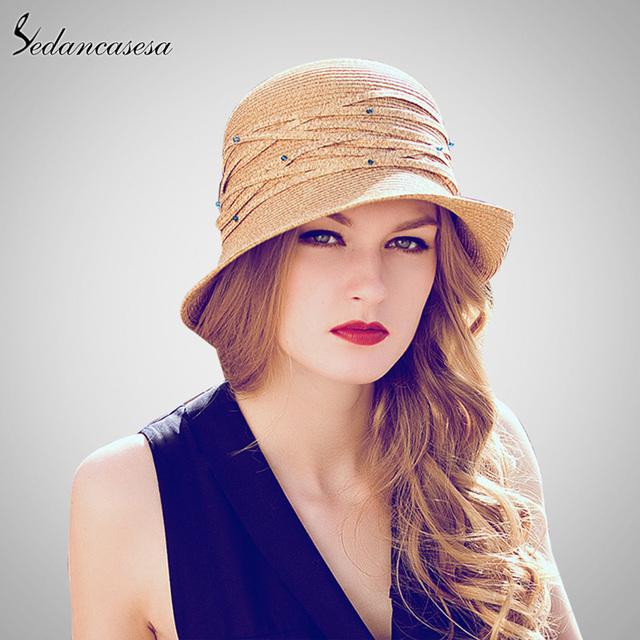 Mujeres Summer Sun de la Paja Sombrero Rollo Brim Diseño de moda Con La Decoración Del Diamante Protector Solar Sombrero SW006107