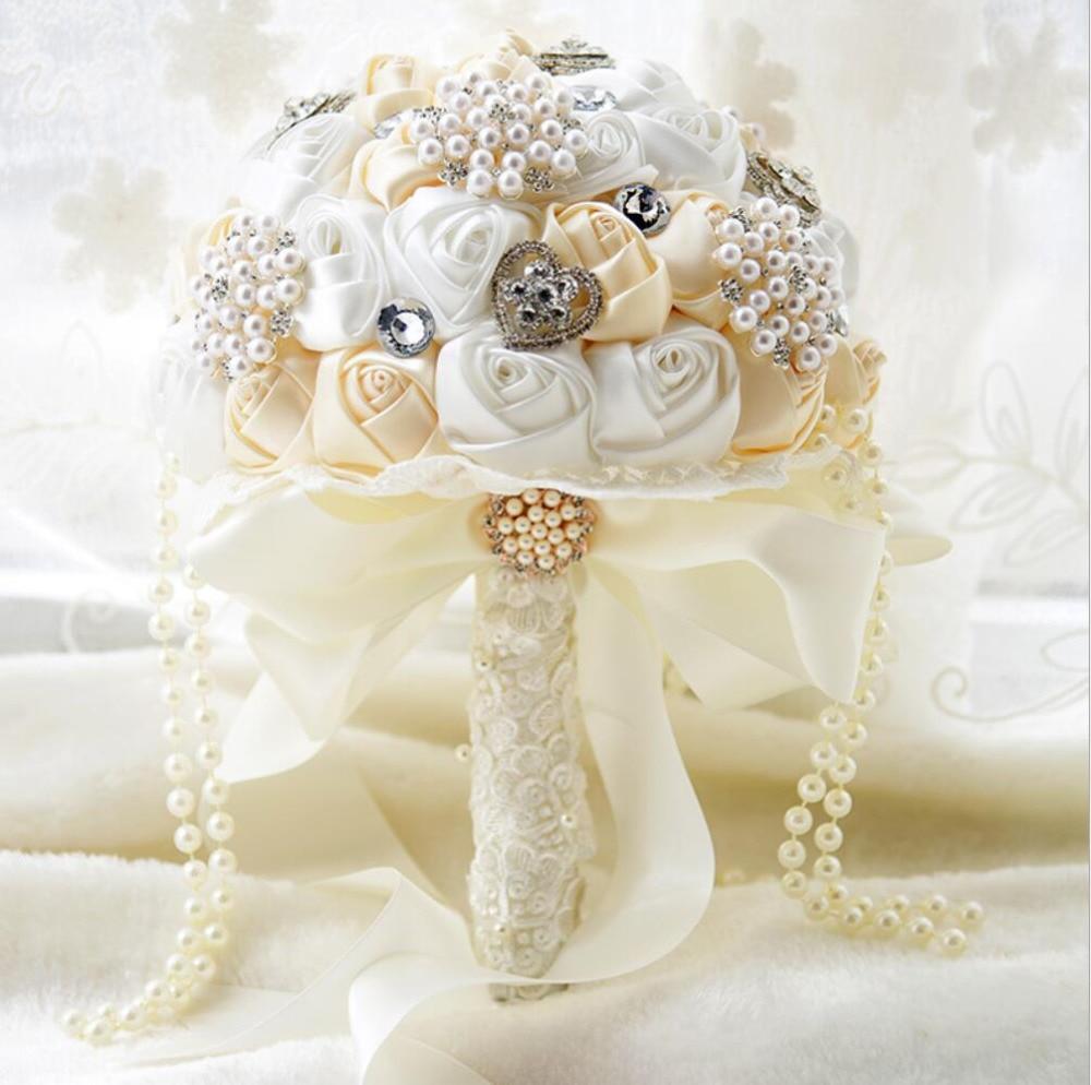 AYiCuthia Elegant Pearl Wedding Flower Bridal Bouquets Crystal Sparkle Bouquet Bride Bridesmaid Wedding Bouquet S69