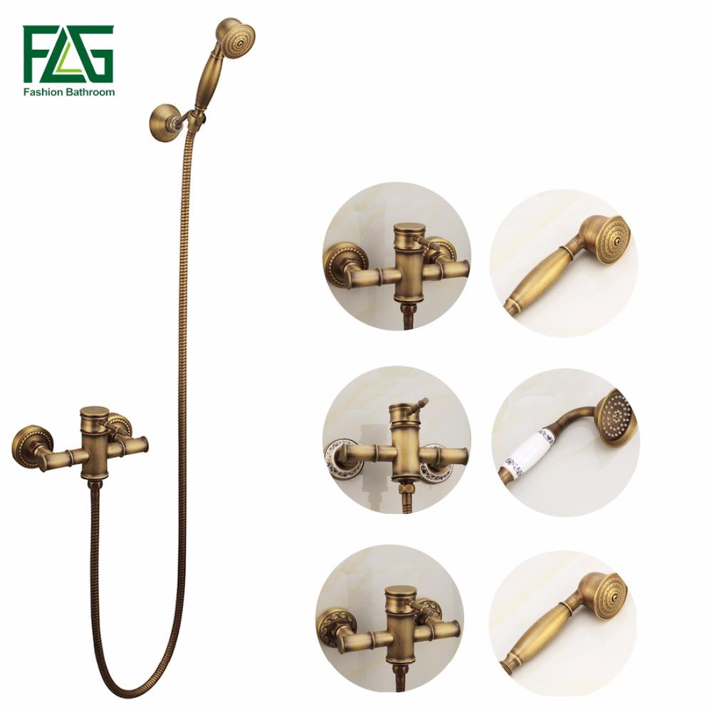 FLG Wall Mounted Antique Brass Bronze Brushed Bathtub Faucet with Hand Shower Bathroom Shower Faucets torneiras FLG40007A flg bathroom accessories wall mounted tumbler holder cup