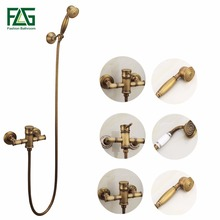 Wall Mounted Antique Brass Bronze Brushed Bathtub Faucet with Hand Shower Bathroom Shower Faucets torneiras FLG40007A brushed nickel finished shower faucet 8 brass shower head with hand shower bathtub faucet