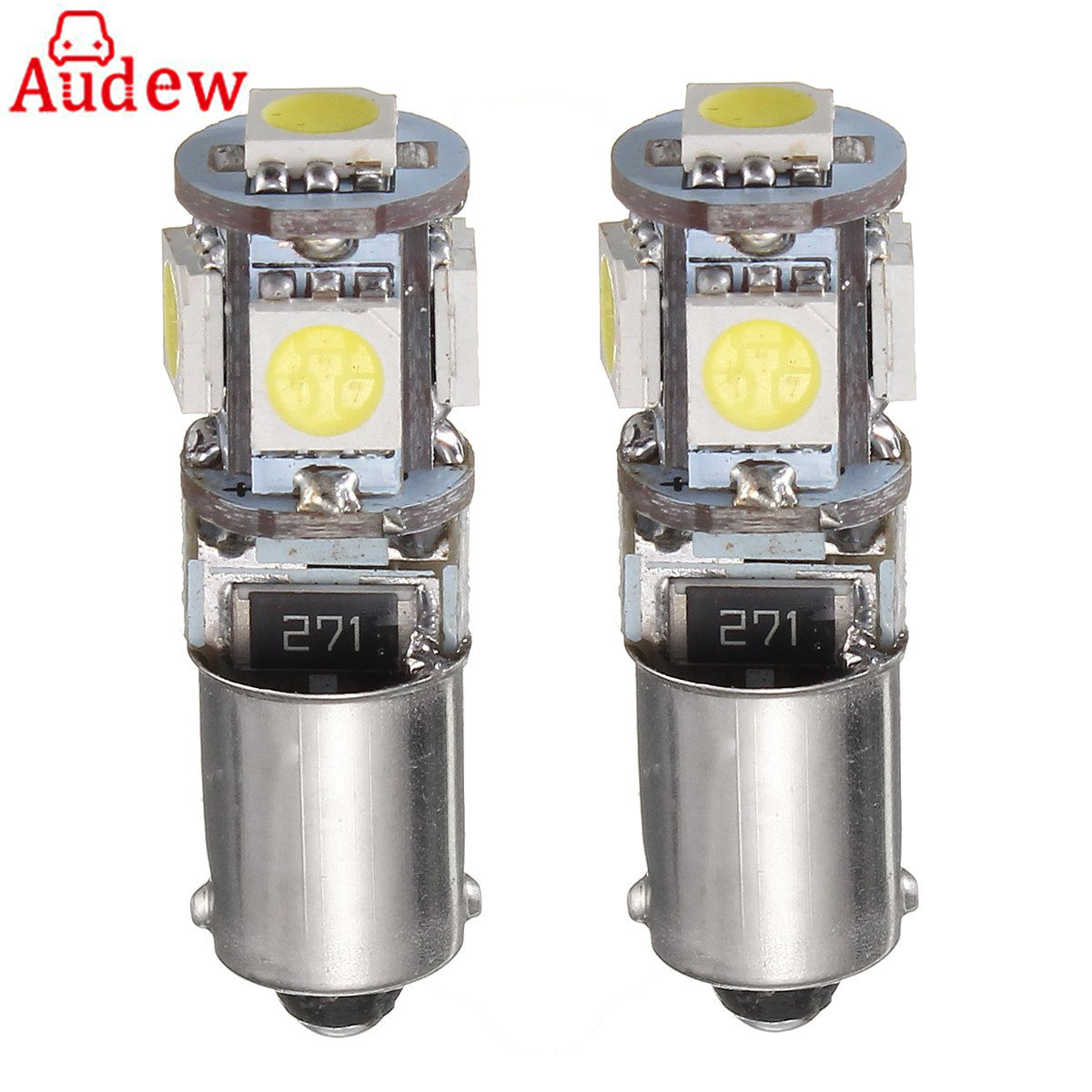 2Pcs <font><b>BAX9S</b></font> <font><b>H6W</b></font> 5-SMD Car <font><b>LED</b></font> Side Light Bulb Tail Parking Interior Lights Bulbs <font><b>6000K</b></font> Canbus Error Free 12V