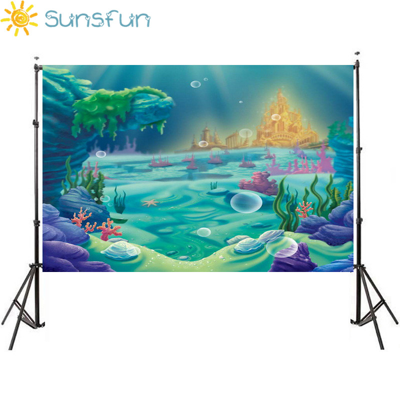 Sunsfun 7x5FT Mermaid Under Sea Bed Caslte Corals Custom Photo Studio Backdrop Background Vinyl 220cm x 150cm