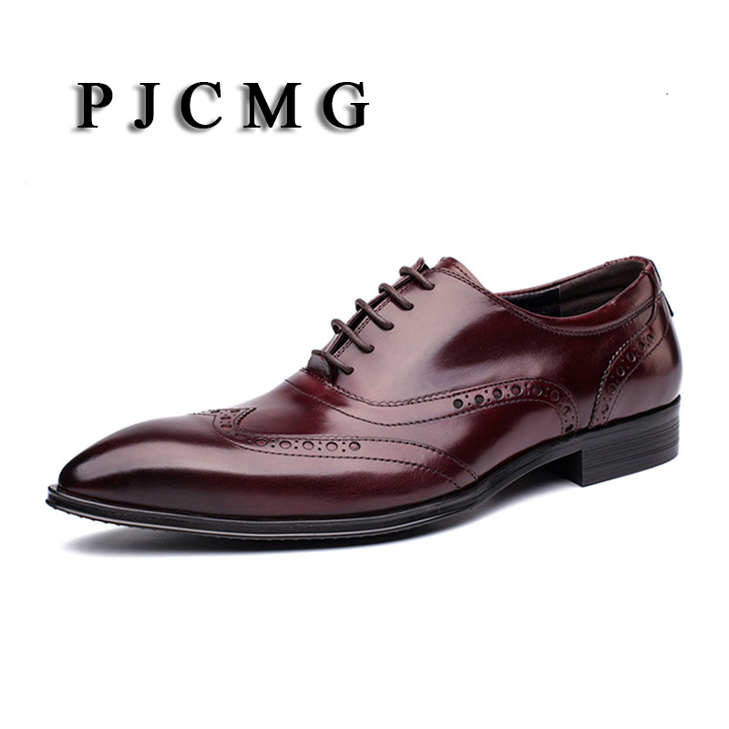 PJCMG New Products Fashion Branded Design British Bullock Carved Genuine Leather Pointed Toe Lace-Up Oxford Dress Shoes For Men british fashion men business office formal dress breathable genuine leather shoes lace up oxford shoe pointed toe teenage sapato
