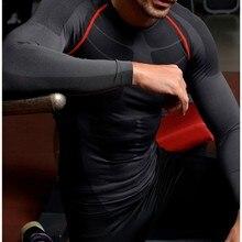 Мужская дышащая быстросохнущая компрессионная спортивная рубашка с длинным рукавом для фитнеса Спортивная Футболка Топ