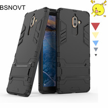 For Nokia 7 Plus Case Bumper Armor Silicone + Plastic Kickstand Anti-knock Cover BSNOVT