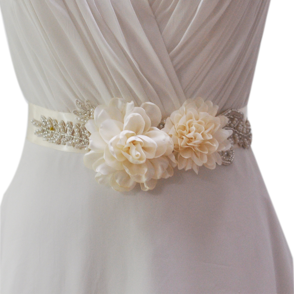 women\'s S251 handmade Beautiful Flowers Wedding evening dress sash ...