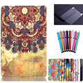 print leather case for samsung galaxy tab A 7.0 SM-T280 T281 T285 7'' tablet cover case +screen protector film+stylus