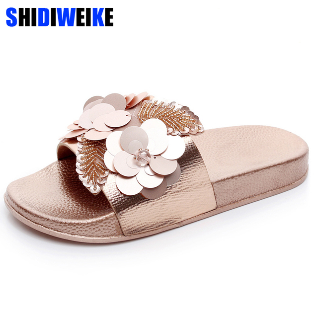 ef2473c1e Gold Sliver Flats Slides Bling Summer Beach Slippers Platform Casual Shoes  Woman Slip On Creepers 3 Colors m525