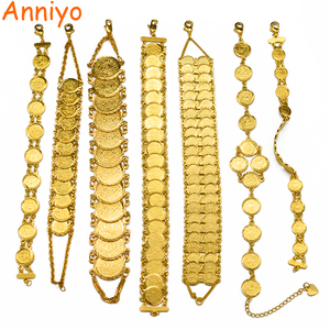 Image 1 - Anniyo Gold Color Money Coin Bracelet Islamic Muslim Arab Coins Bracelet for Women Men Middle Eastern Jewelry African Gifts