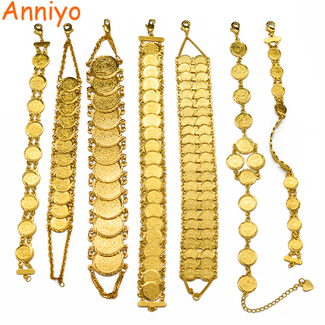Anniyo Gold Color Money Coin Bracelet Islamic Muslim Arab Coins Bracelet for Women Men Middle Eastern Jewelry African Gifts
