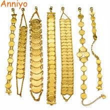 Anniyo pulsera de monedas de Color dorado para hombre y mujer, brazalete árabe islámico musulmán, joyería del Medio Oriente, regalos africanos