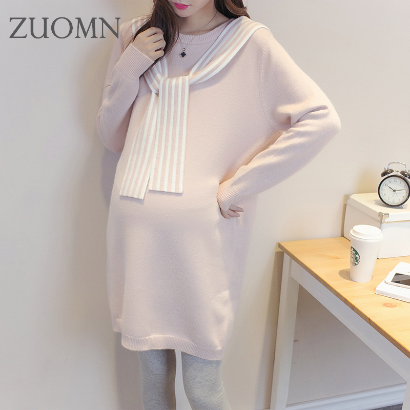 New Arrival Korean Warm Maternity Sweater Dress Long Sleeve Sweaters Pregnant Women Casual Knitted Maternity Sweater YL288 2018 new arrival casual style long knitted dresses women round neck three quarter sleeve patchwork women knitted sweater dress
