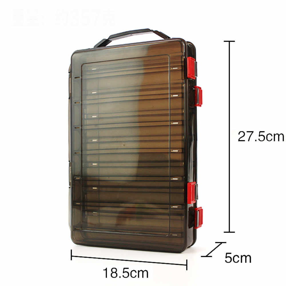 Perimedes Outdoor Fishing Gear Baits Box Storage Plastic Double-sided 14 grid bait box Fishing Tackle Boxes easy to take#g40