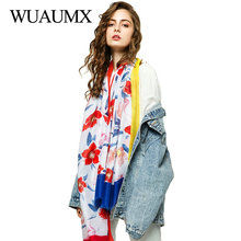 Wuaumx Brand Scarf Women Floral Pattern Hijab Scarfs Ladies Scarves Cotton Capes Sunscreen Bandana 180*90cm sjaal Foulard Femme