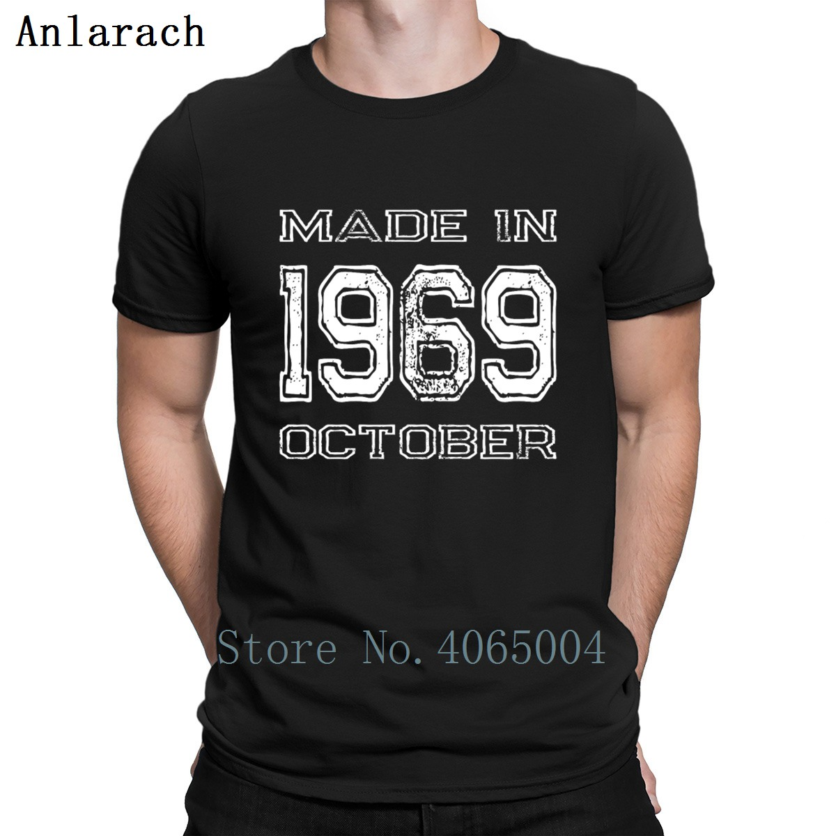 Birthday Made In 1969 October T Shirt Sunlight Fashion Cotton Summer Style Unique Trend Printed O Neck Shirt