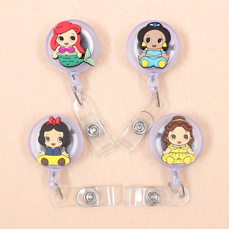 New Cartoon 60cm Silicone Mermaid Princess Retractable Badge Reel Student Nurse Exhibition Enfermera Name Card ID Card Chest