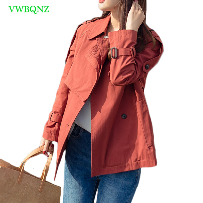 New Spring Autumn Windbreaker Coat Women Korean Slim Short Student   Trench   coats Women's Thin section Khaki Cotton Overcoat A749