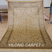Yilong 5'x8' Persian Tabriz carpet beige vantage hand knotted turkish rugs for sale (1016)
