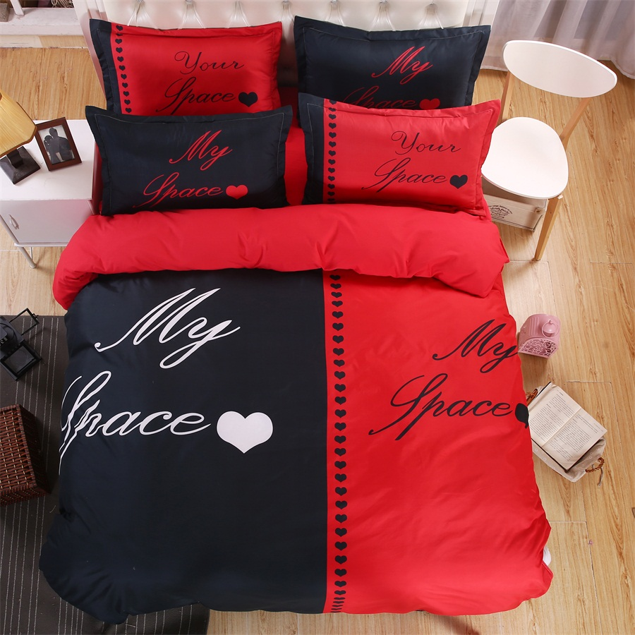 Red and black bedding - Black Red My Place Your Place Couple Bedding Sets Love Queen King Size Double Bed 4pcs Bed Linen Bed Sheet Duvet Cover Set