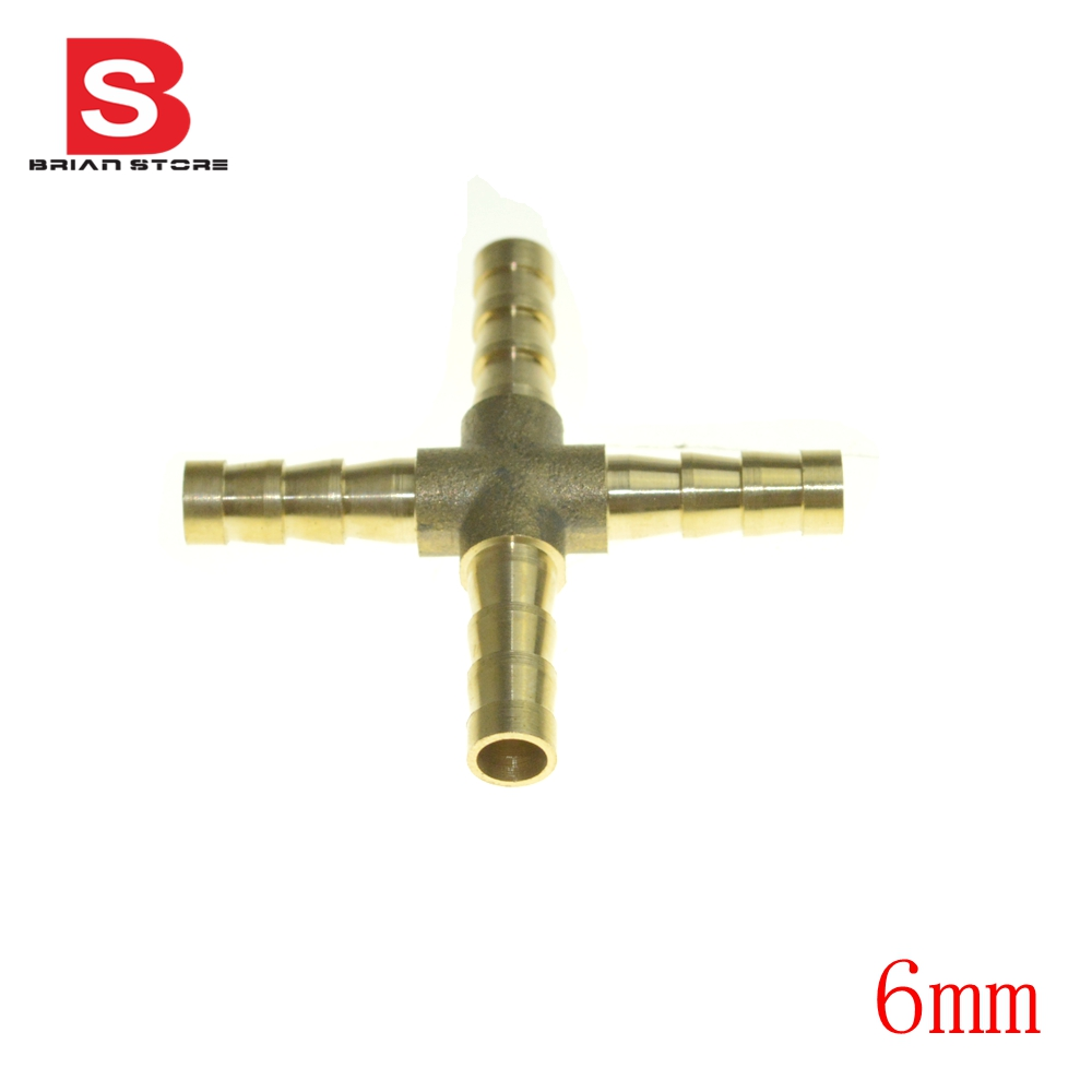 Mm hose barb cross brass barbed tube pipe fitting
