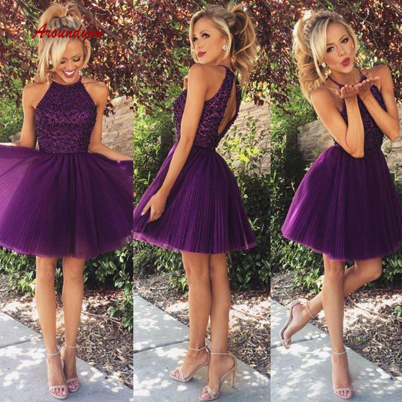 Sexy Purple Short Cocktail Dresses coktail Halter Graduation Party Homecoming Dresses