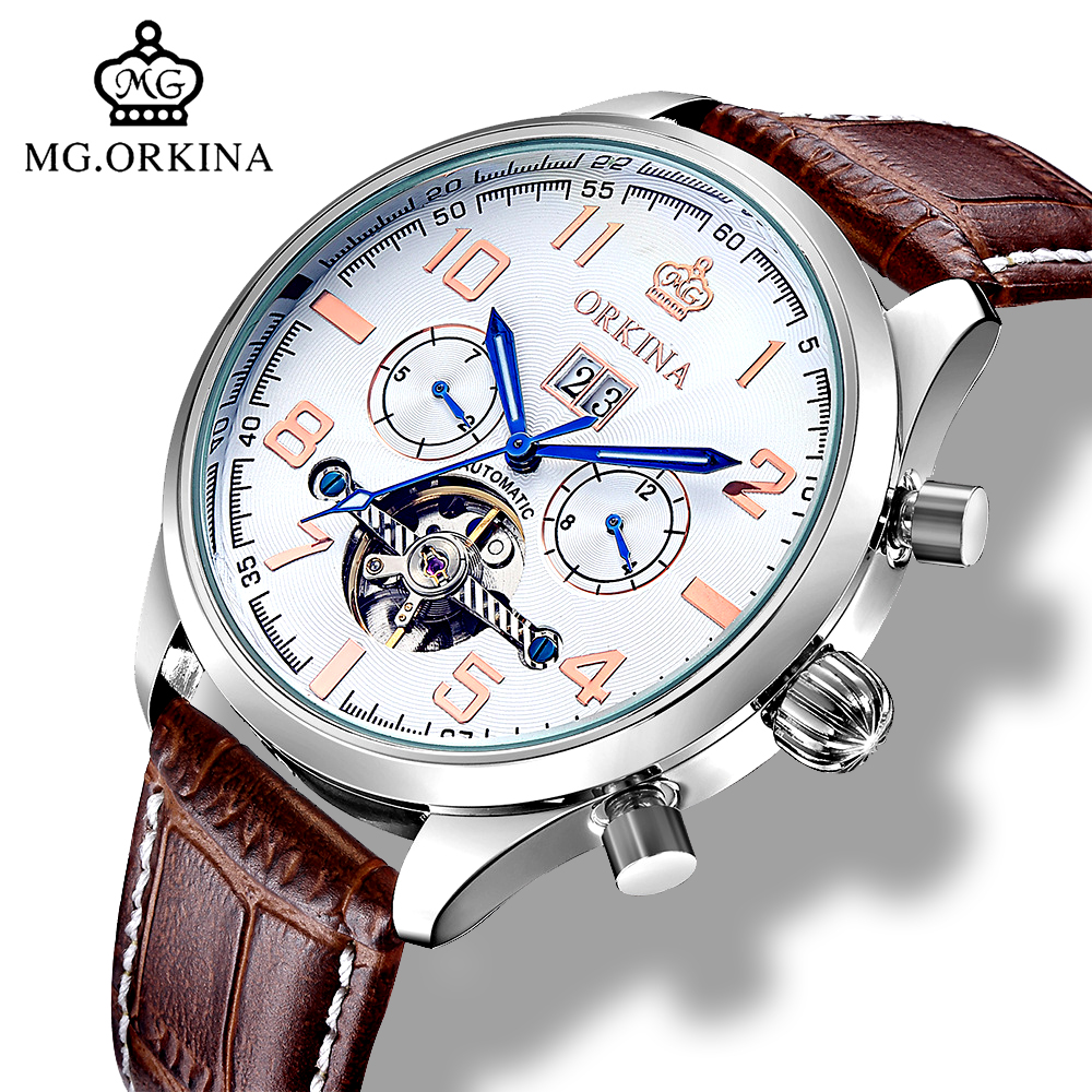 Mg.orkina Luxury Tourbillon Automatic Self Wind Watches Men Mechanical Auto Date Month Week Wrist Watch Men Clock Wristwatches orkina luxury brand automatic mechanical men s watch black brown leather strap wrist watch gifts auto date week month display