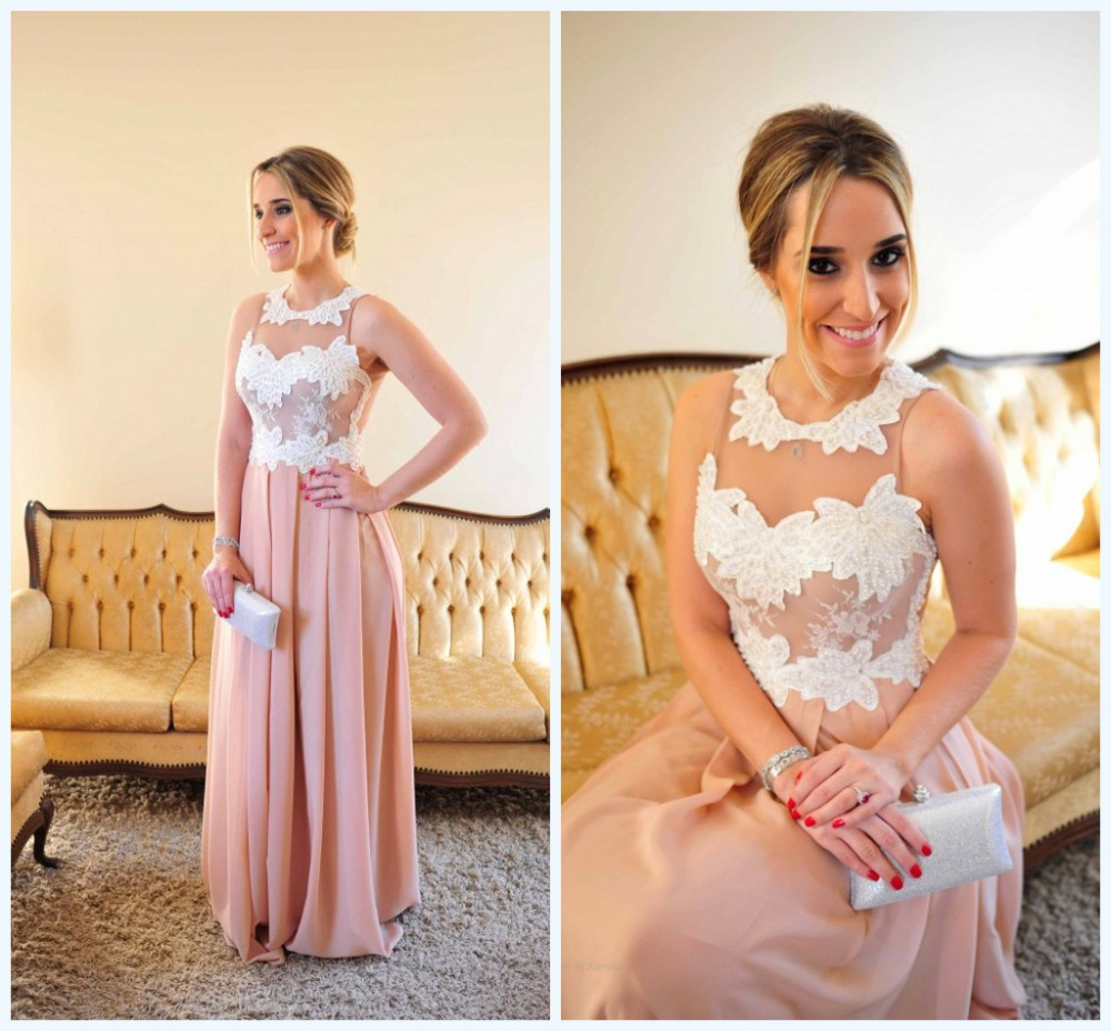Vestido De Renda Pink Sexy Floor Length Beaded Bodice Evening Dress Long Prom Dresses See Through Back Vestido de Festa longo