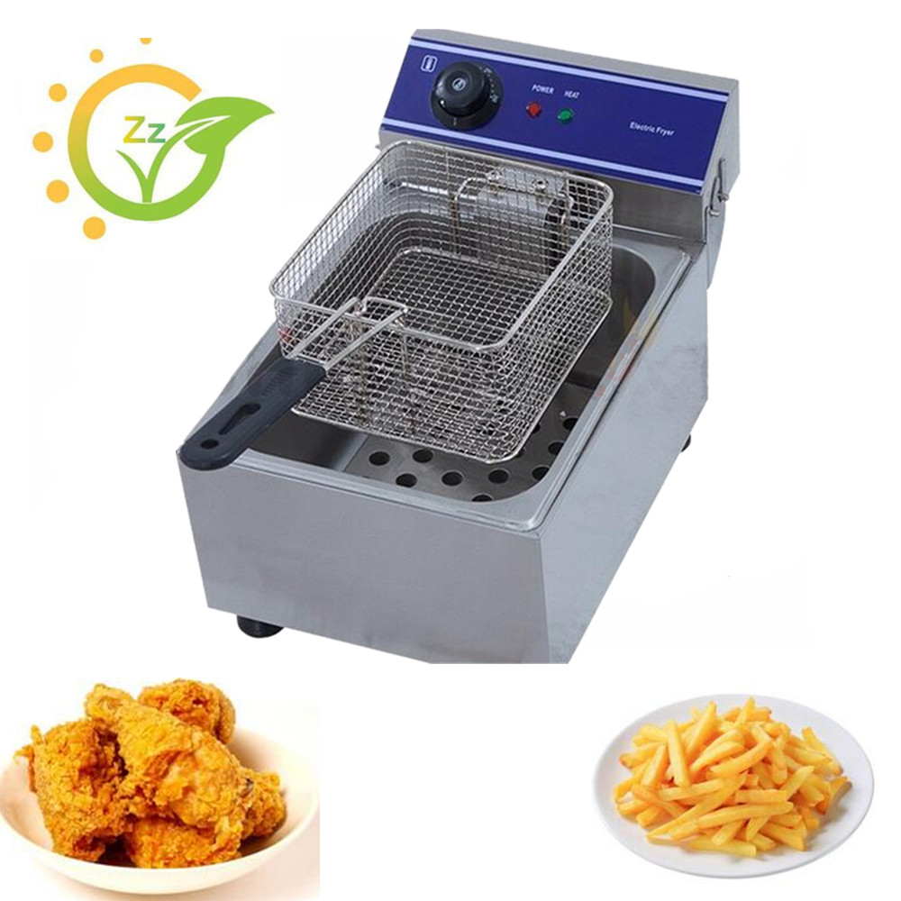 Household Commercial Small Electric Deep Fryer Frying Machine Stainless Steel Deep Oil Fat Fry Suite Food Machine