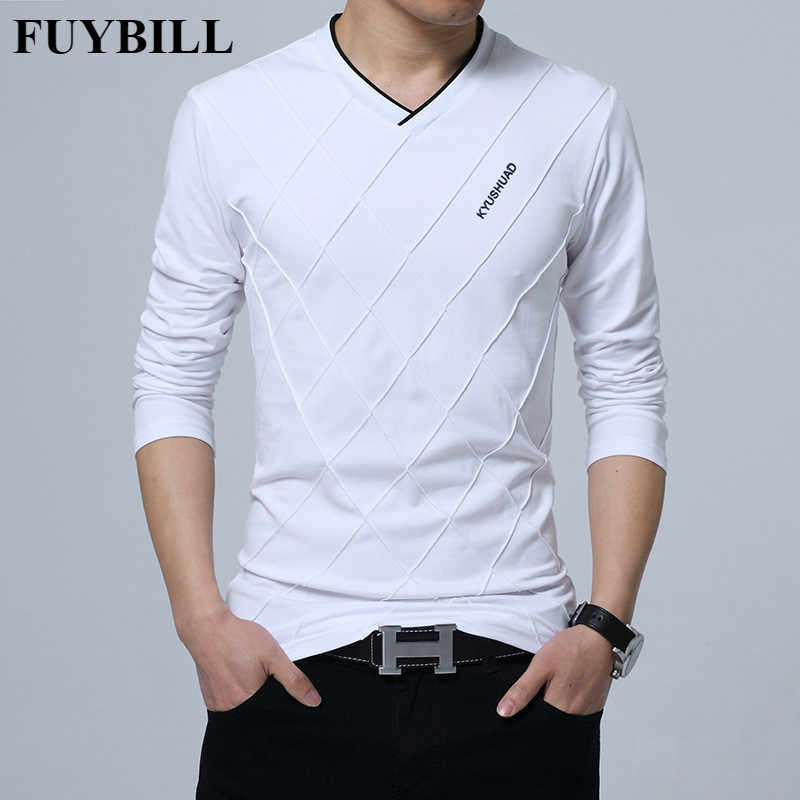 FuyBill New Fashion Men T-shirt Slim Fit Custom T-shirt Crease Design Long Stylish Luxury V Neck Fitness T-shirt Tee Shirt Homme