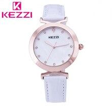2016 K-1373 KEZZI Marca Moda Mujeres Rhinestone Reloj de pulsera de Lujo Caja de la Aleación de Oro Rosa Relogio Feminino Regalo QuartzWatch KZ08