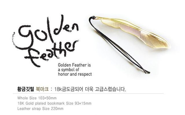 Online Shop Creative stainless steel metal golden feather Bookmarks