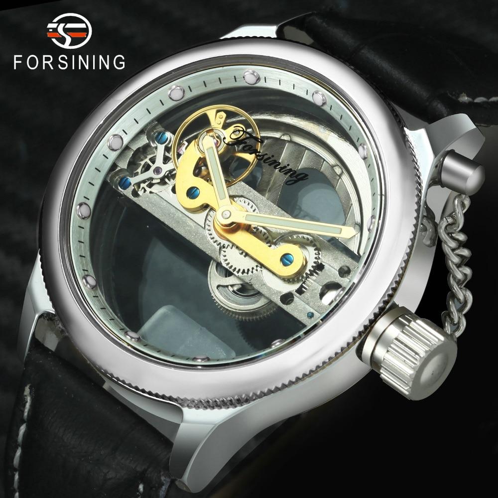 FORSINING Top Brand Luxury Golden Bridge Mechanical Watch Men Genuine Leather Strap Gear Transparent Case Business Wrist Watches|watch brand men|watch men|watch men brand - title=