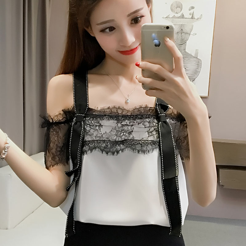 Sexy lace chiffon blouse woman summer shirt strap off shoulder short sleeve tops female fashion lady clothes kpop high quality