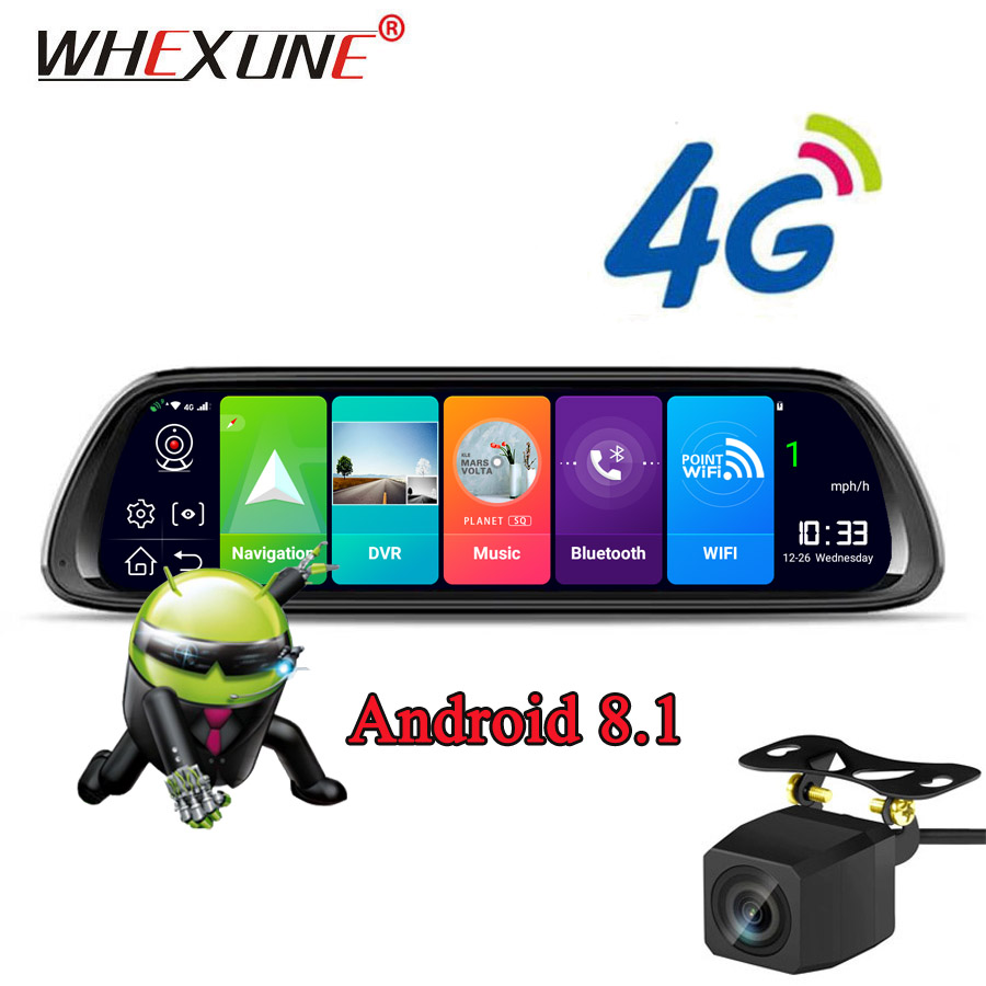 WHEXUNE 10 Inch 4G Android Rearview Mirror DVR 1080P Dash Camera GPS Navigation ADAS Night vision Dual Lens Car video recorder