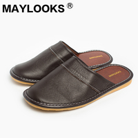 New Spring Autumn Slip On Men Slippers Soft Comfortable 100 Cow Leather Handmade Stitches Black Brown