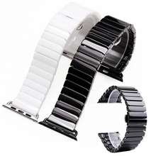 New Ceramic Watch Band for Apple 38/42mm Series 1 2 3 Link Bracelet Butterfly Buckle Black White Glossy Smart Belt