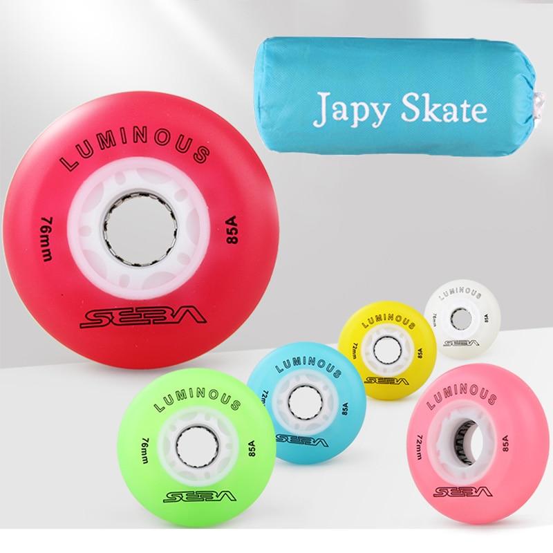 Japy Skate Original SEBA LUMINOUS LED Flash Inline Skate Wheels LED Lighting Sliding Rollers 85A Slalom